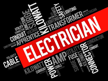 Elektricien woord cloud collage, concept achtergrond