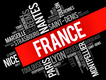 fench: List of cities and towns in France, word cloud collage, travel concept background