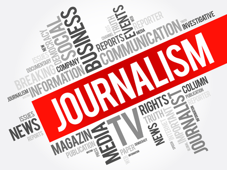 article writing: Journalism word cloud collage , social concept background Illustration