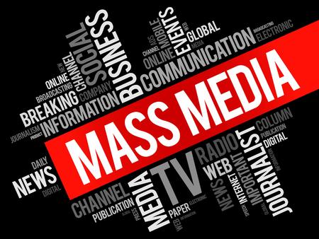 Collage della nuvola di parola di mass-media, fondo di concetto di affari di tecnologia