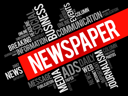 tabloid: Newspaper word cloud collage, business concept background
