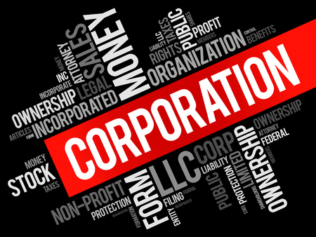 Corporación, palabra, nube, collage, empresa / negocio, concepto, fondo