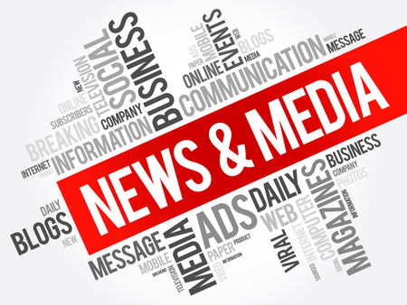 sourced: News and Media word cloud collage, social concept background Illustration