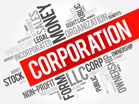 Corporation Wort Wolke Collage, Business-Konzept Hintergrund