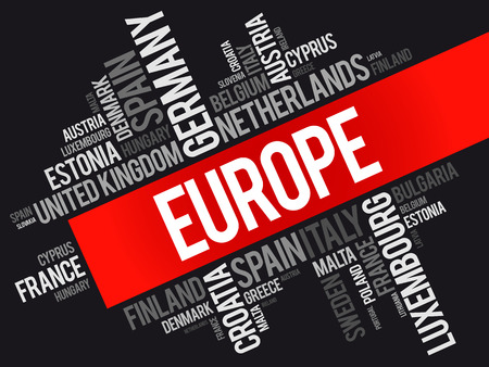 kingdom of spain: Europe List of cities word cloud collage, travel concept background Illustration