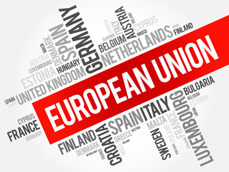 kingdom of spain: European Union List of cities word cloud collage, concept background
