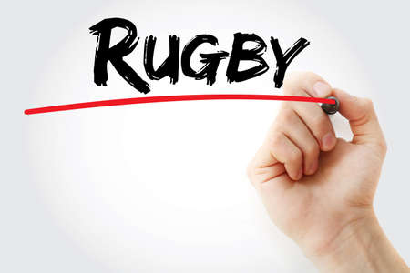 touchline: Hand writing Rugby with marker, sport concept background
