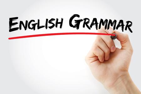 semantics: Hand writing English grammar with marker, concept background
