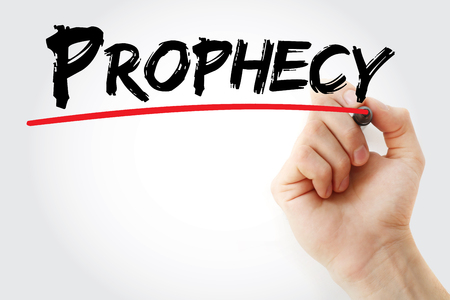 Hand writing Prophecy with marker, concept background