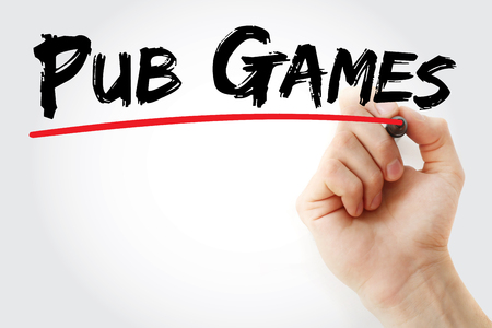 Hand writing Pub games with marker, concept background