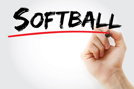 Hand writing Softball with marker, sport concept background