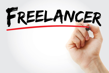 sourcing: Hand writing Freelancer with marker, concept background