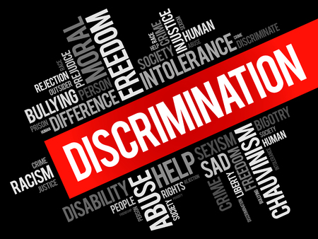 Discrimination word cloud collage, social concept background Çizim