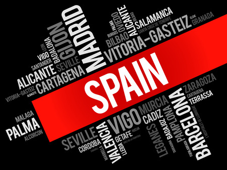 sierra nevada: List of cities in Spain word cloud, Spanish municipalities, business and travel concept background Illustration