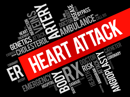 Heart Attack word cloud collage, health concept background Illustration