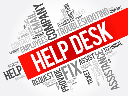 Help Desk word cloud collage, business concept background Vectores