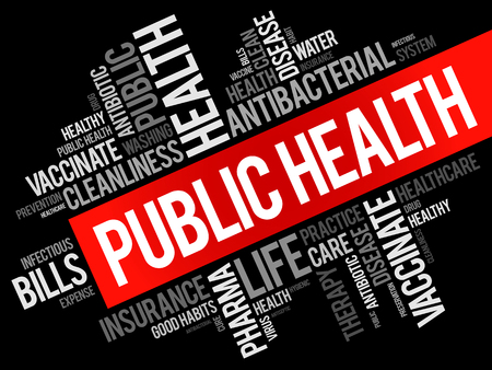 Public health word cloud collage, healthcare concept background Illustration