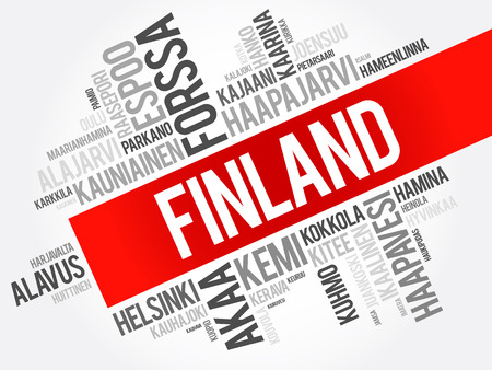 List of cities and towns in Finland, word cloud collage, business and travel concept background