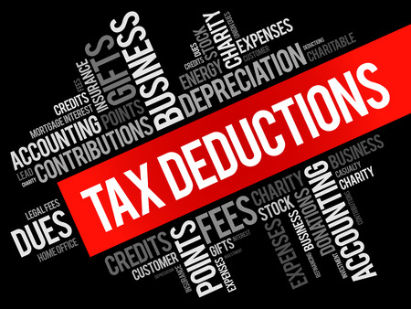 deductions: Tax Deductions word cloud collage, business concept background