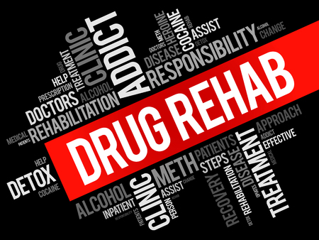 Drug Rehab word cloud collage, health concept background