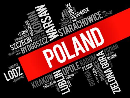 Lista miast w Polsce, collage chmura słowo, biznes i koncepcja podróży tle Ilustracje wektorowe