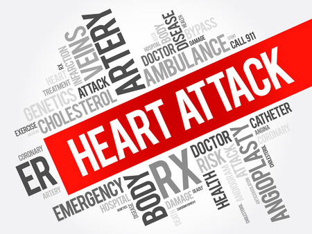 Heart Attack word cloud collage, health concept background