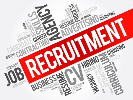 Recruitment word cloud collage, business concept background