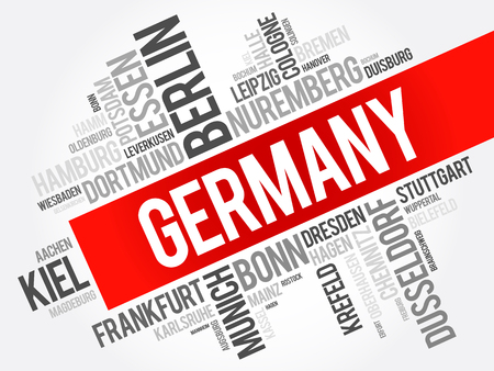 stuttgart: List of cities in Germany, word cloud collage, travel concept background