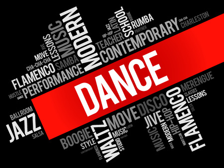 Dance word cloud collage, concept background