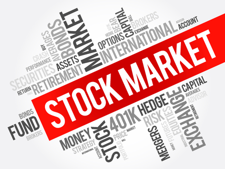 equities: Stock Market word cloud collage, business concept background