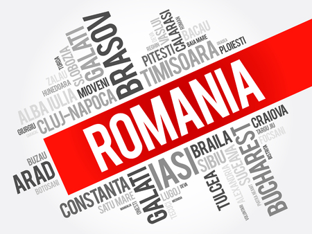 List of cities in Romania word cloud collage, business and travel concept background