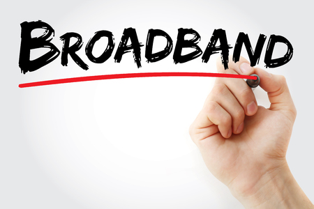 bandwith: Hand writing Broadband with marker, concept background