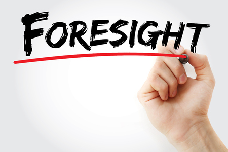 Hand writing Foresight with marker, concept background Stock Photo