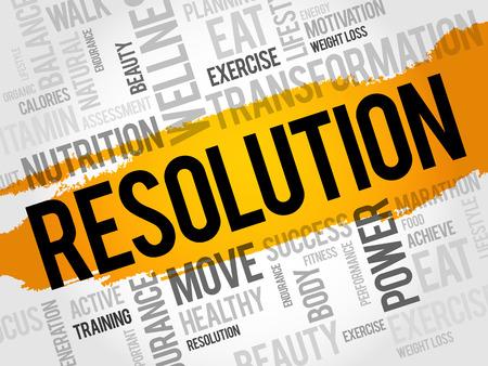 RESOLUTION word cloud, fitness, sport, health concept Illustration