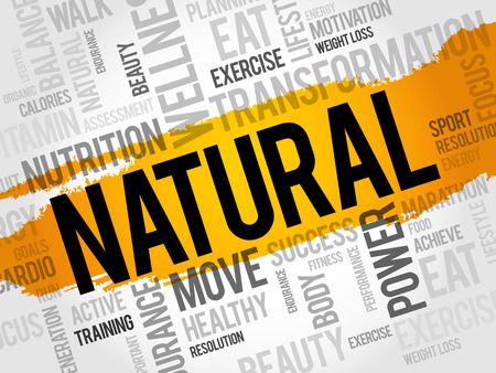 NATURAL word cloud, fitness, sport, health concept