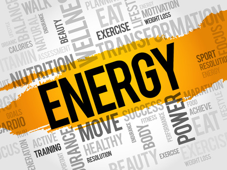 ENERGY word cloud collage, fitness, sport, health concept Illustration