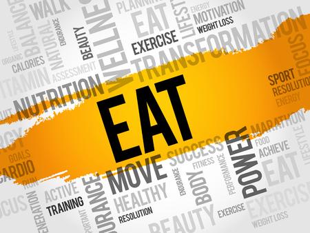 EAT word cloud, fitness, sport, health concept Illustration