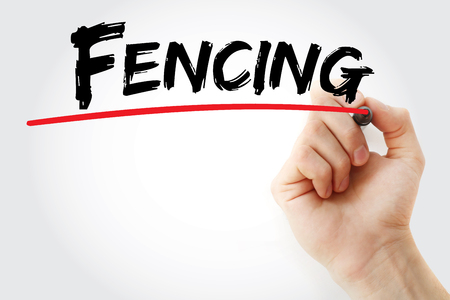 swordsmanship: Hand writing Fencing with marker, concept background Stock Photo