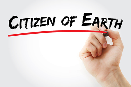 citizenry: Hand writing Citizen of Earth with marker, concept background Stock Photo