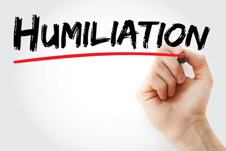 humility: Hand writing Humiliation with marker, concept background