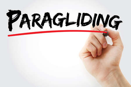 Hand writing Paragliding with marker, concept background Stock Photo