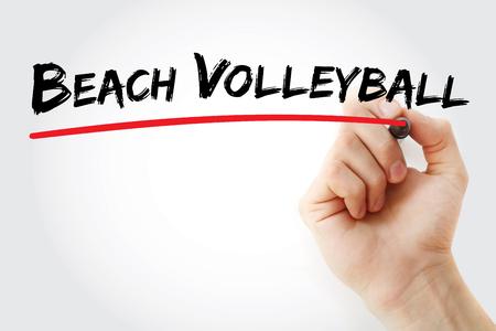 Hand die Strandvolleyball met teller, conceptenachtergrond schrijft