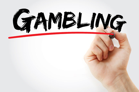 Hand writing Gambling with marker, sport concept backgro Stock fotó