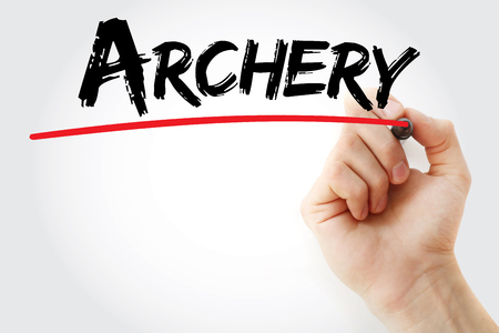 recurve: Hand writing Archery with marker, sport concept background
