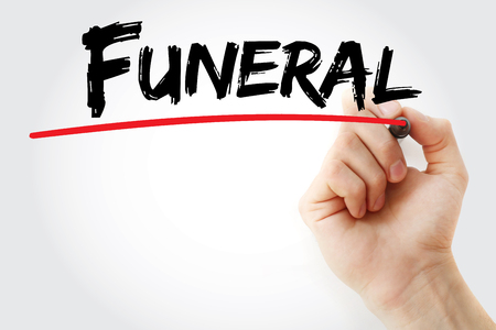 Hand writing Funeral with marker, concept background