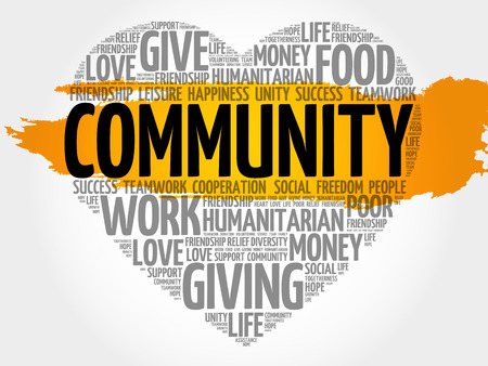 poverty relief: Community word cloud, heart concept