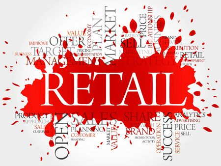 retailing: Retail word cloud, business concept background