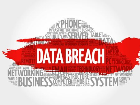 intentional: Data Breach word cloud collage, business concept background Illustration
