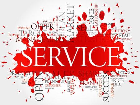 maintainability: SERVICE word cloud, business concept background