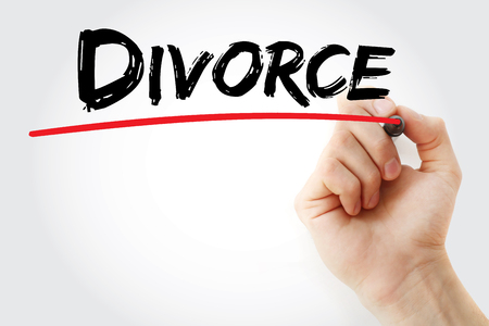 alimony: Hand writing Divorce with marker, concept background